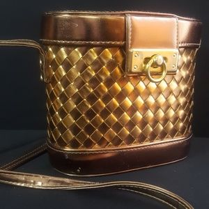Vintage Faux Leather Woven  Ice Bucket Bag